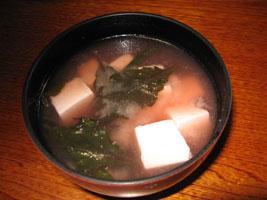 「はんだま」と豆腐の味噌汁